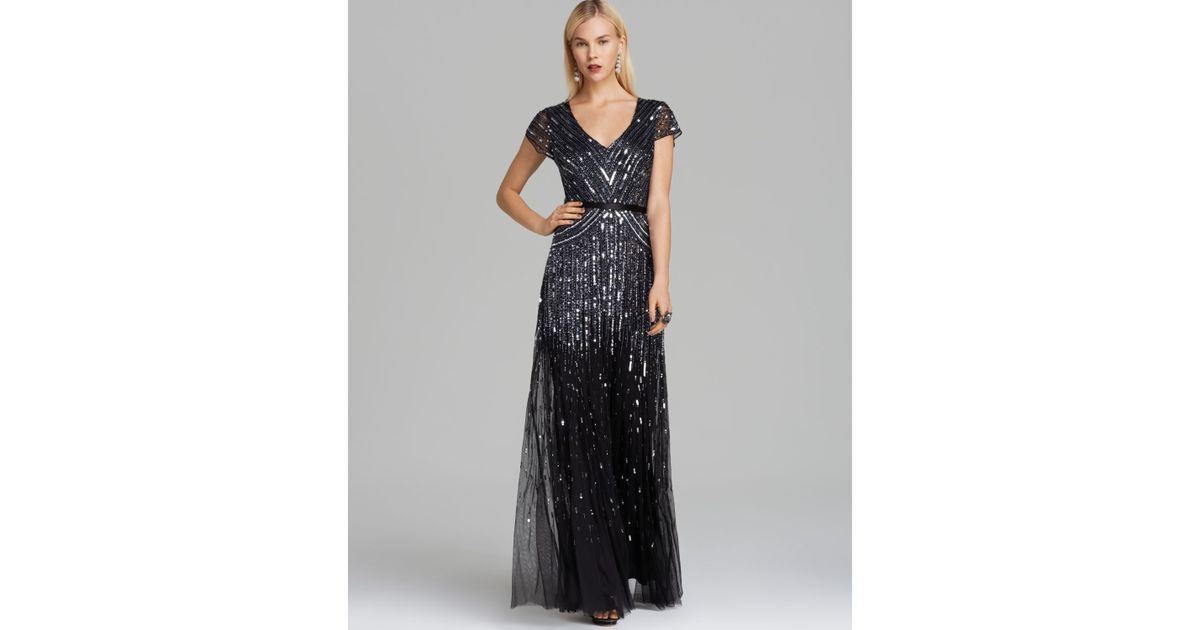 dd1962033c2 Adrianna Papell V Neck Beaded Gown Cap Sleeve in Gray - Lyst
