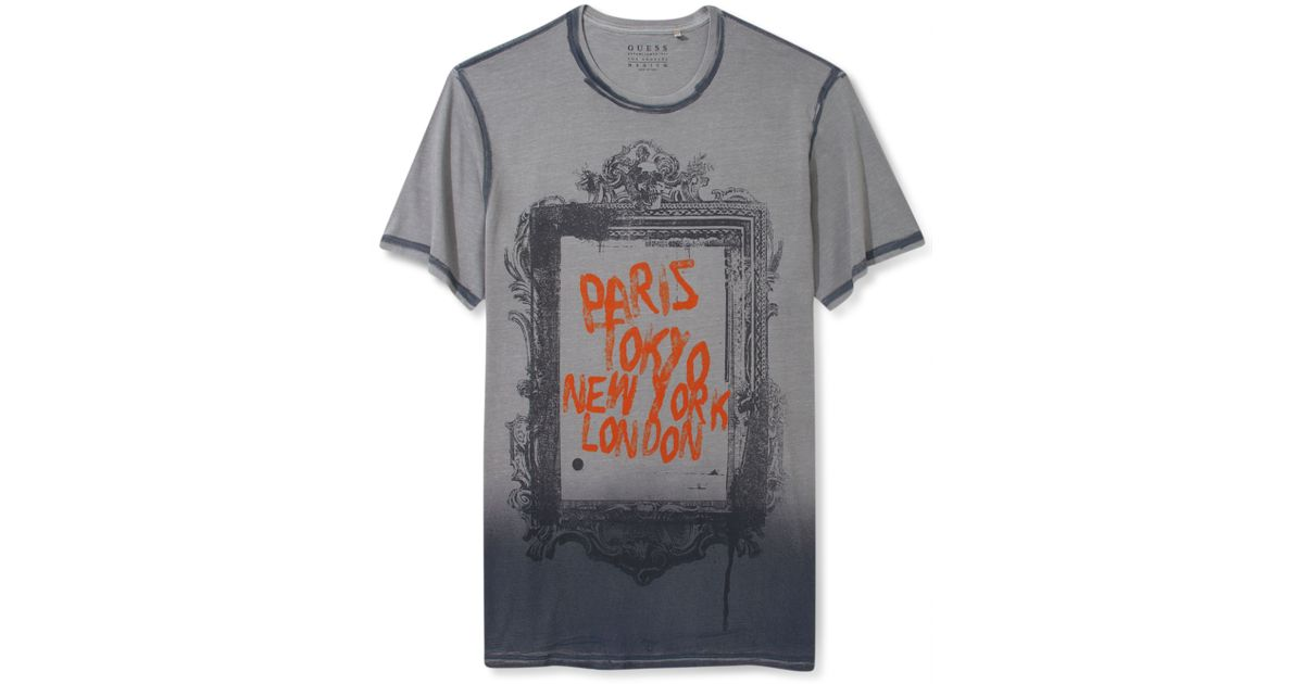 Lyst - Guess Shirt City Frame Graphic Tshirt in Gray for Men