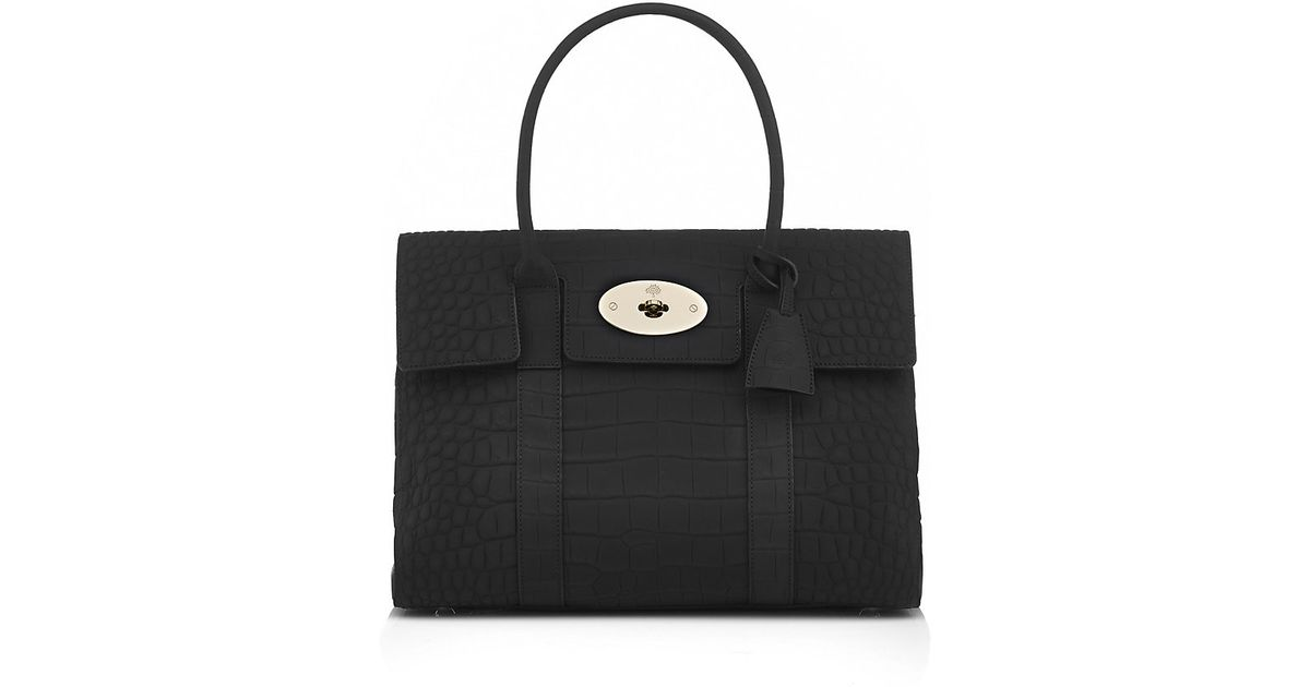 reduced mulberry bayswater black deep embossed croc print hewi london 5a412  26e76  get mulberry bayswater crocodile print tote in black lyst f5978 039f9 285c2539440b5