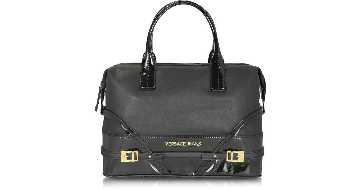 Lyst - Versace Jeans Black Large Grainy Eco Leather Tote in Black e3828076ae