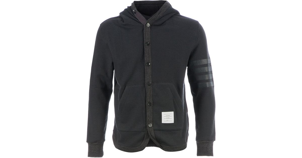 Thom browne Hooded Jersey Cardigan in Gray for Men | Lyst