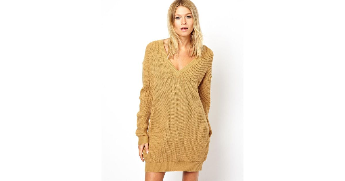 0aa5012fe0f Lyst - ASOS Deep V Sweater Dress in Natural