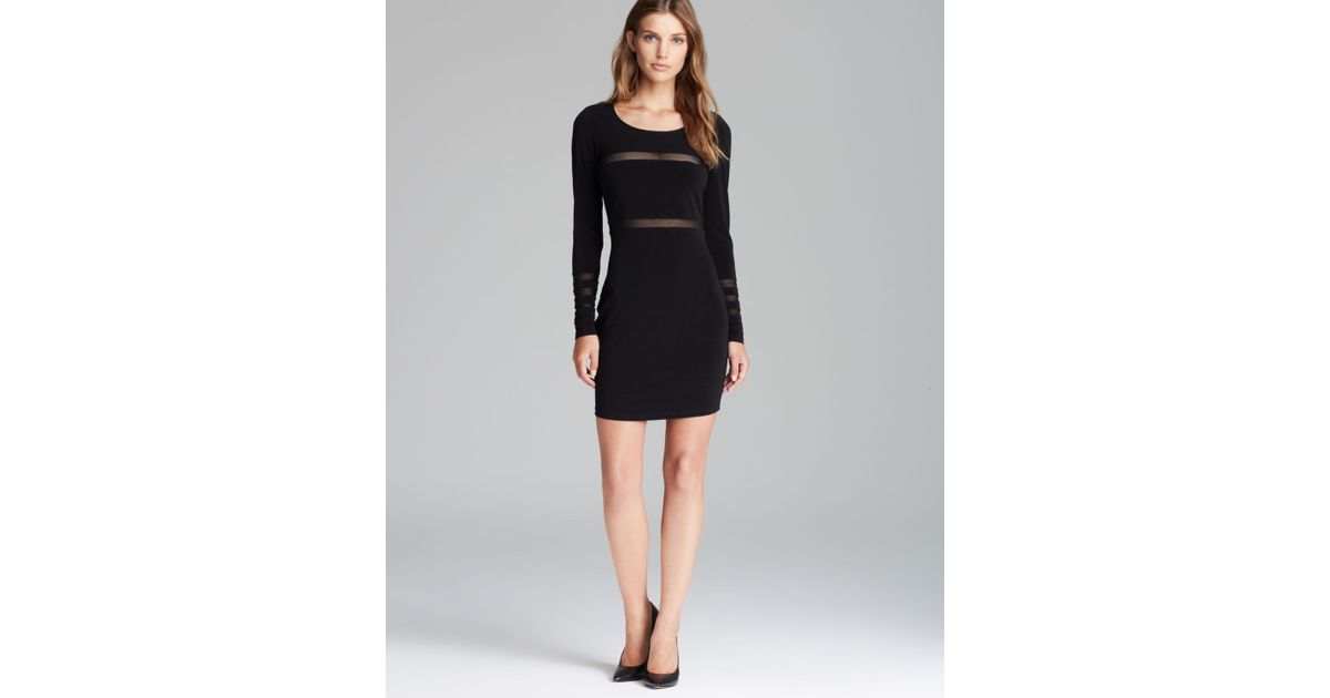 Lyst Elizabeth And James Dress Millie Long Sleeve Sheer Panel In Black