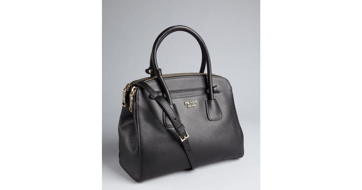 b3ee4cb197 get lyst prada black saffiano leather dual zip top convertible tote in black  aeac3 54322