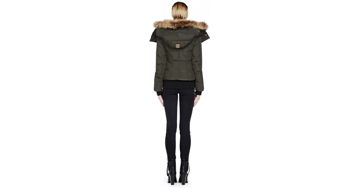 Mackage Romane Short Army Bomber Down Jacket with Fur Trim ...