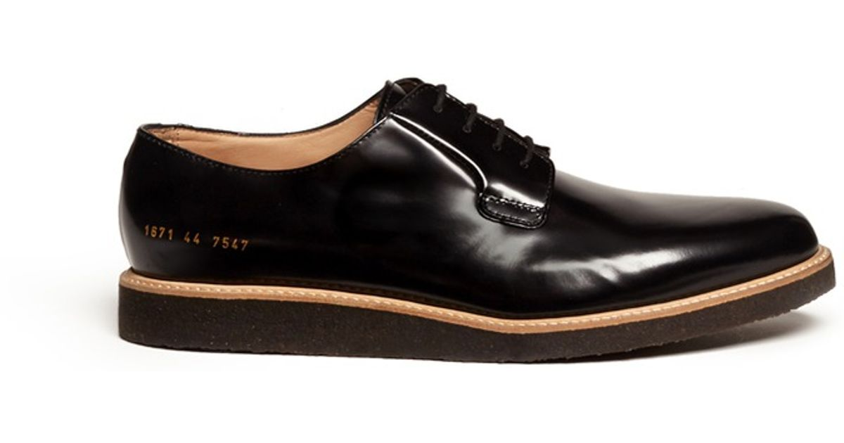 Lyst Common Projects Shiny Leather Derby Shoes In Black For Men