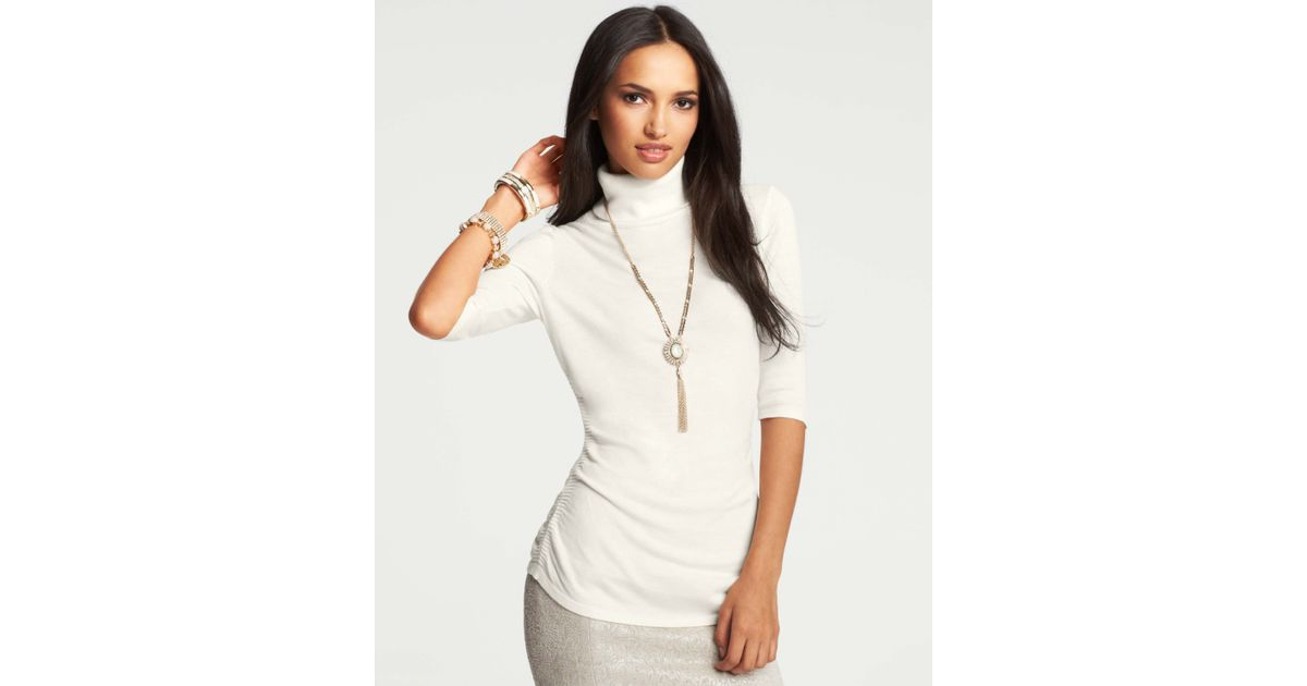 Ann taylor Ruched Short Sleeve Turtleneck Sweater in White | Lyst