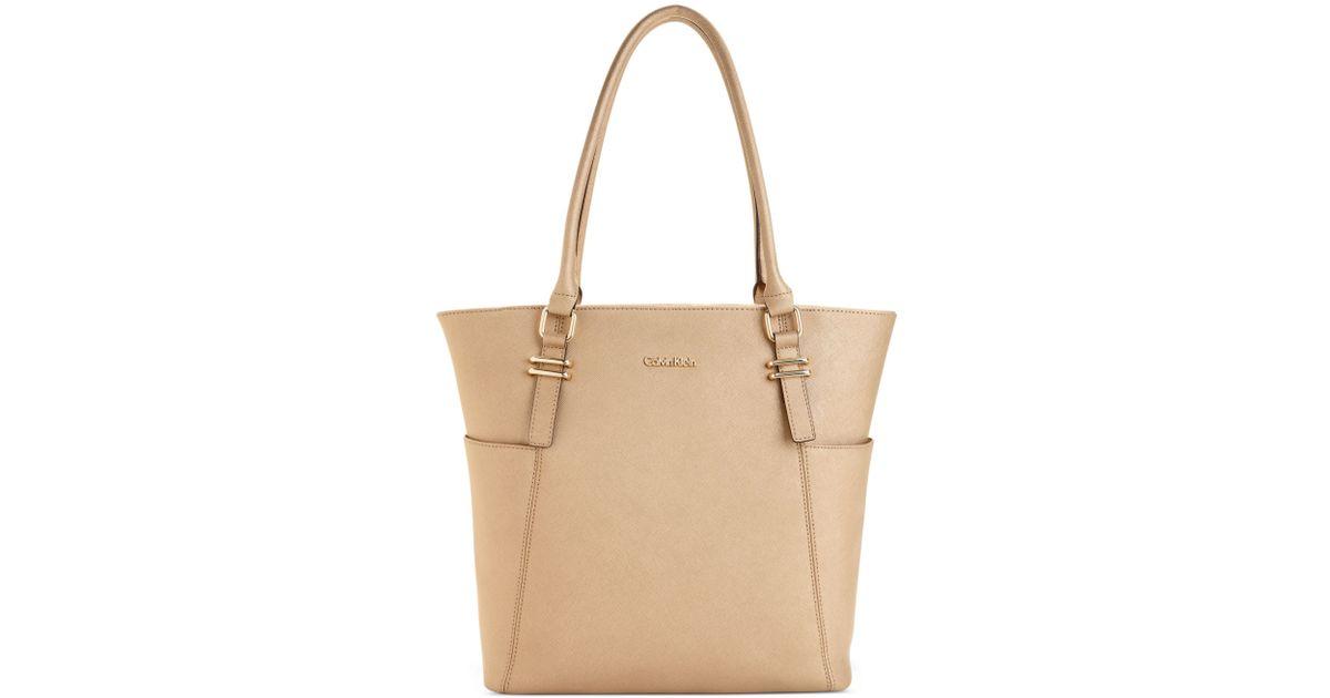 Lyst - Calvin Klein Calvin Klein Handbag Macys Key Item Saffiano Top Zip Tote in Natural