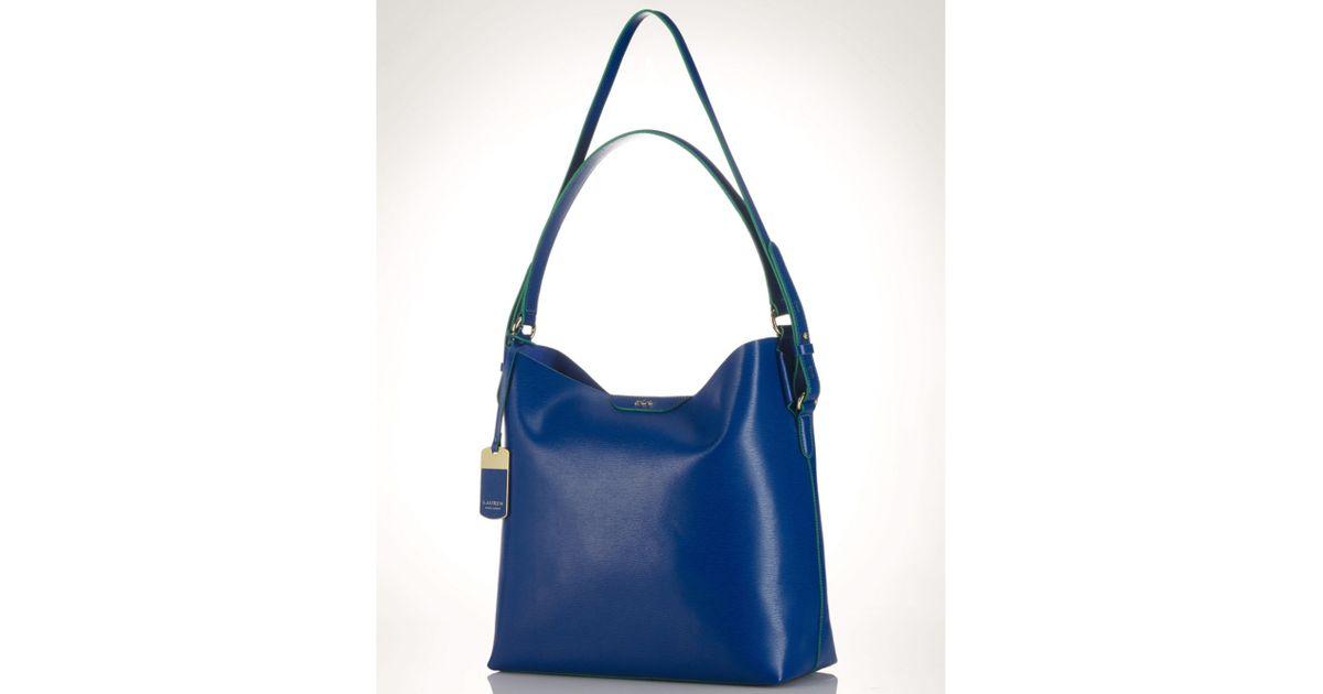 3e14a8a48443 Lyst - Lauren by Ralph Lauren Lauren Ralph Lauren Handbag Tate Hobo in Blue