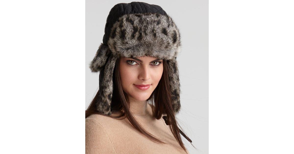 e22cff452a1 Lyst - Surell Rabbit Fur Aviator Hat in Gray