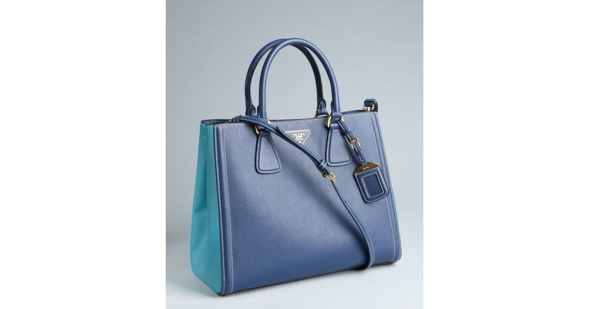 Prada Blue and Turquoise Saffiano Leather Convertible Tote in Blue ...