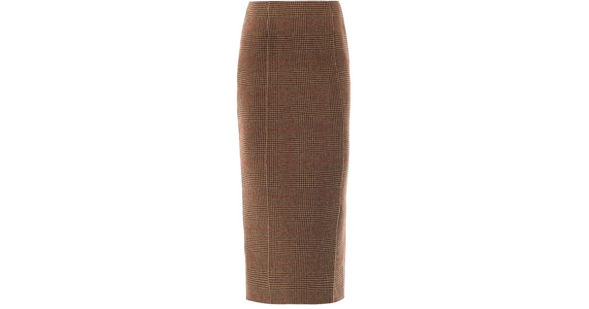 0a44e6910 Rochas Tweed Pencil Skirt in Brown - Lyst