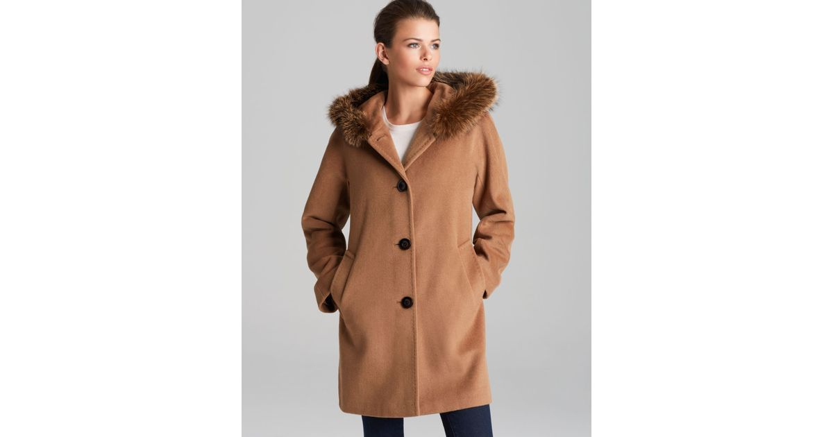 899e4bb5ef63 Lyst - Ellen Tracy Coat Fox Fur Trimmed Hood in Brown