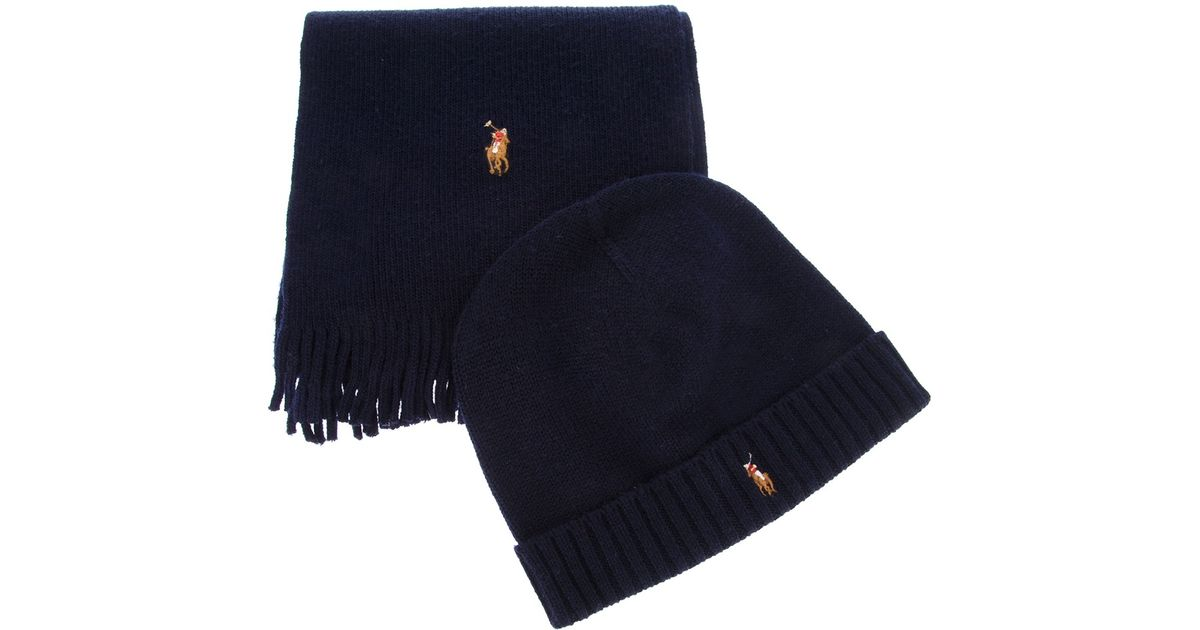 fce9d81ed ... top quality lyst polo ralph lauren ribbed scarf and hat set in blue for  men b24a0 ...