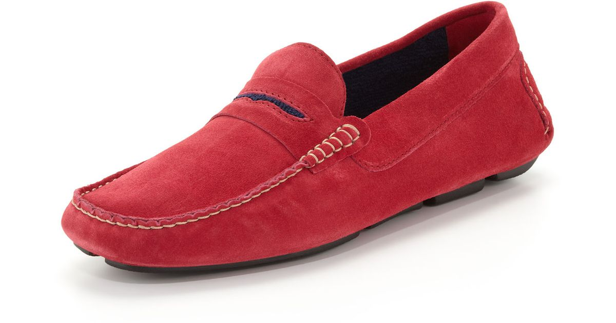 a21d3753080bc Manolo Blahnik Mens Roadster Suede Driver Loafer in Red for Men - Lyst