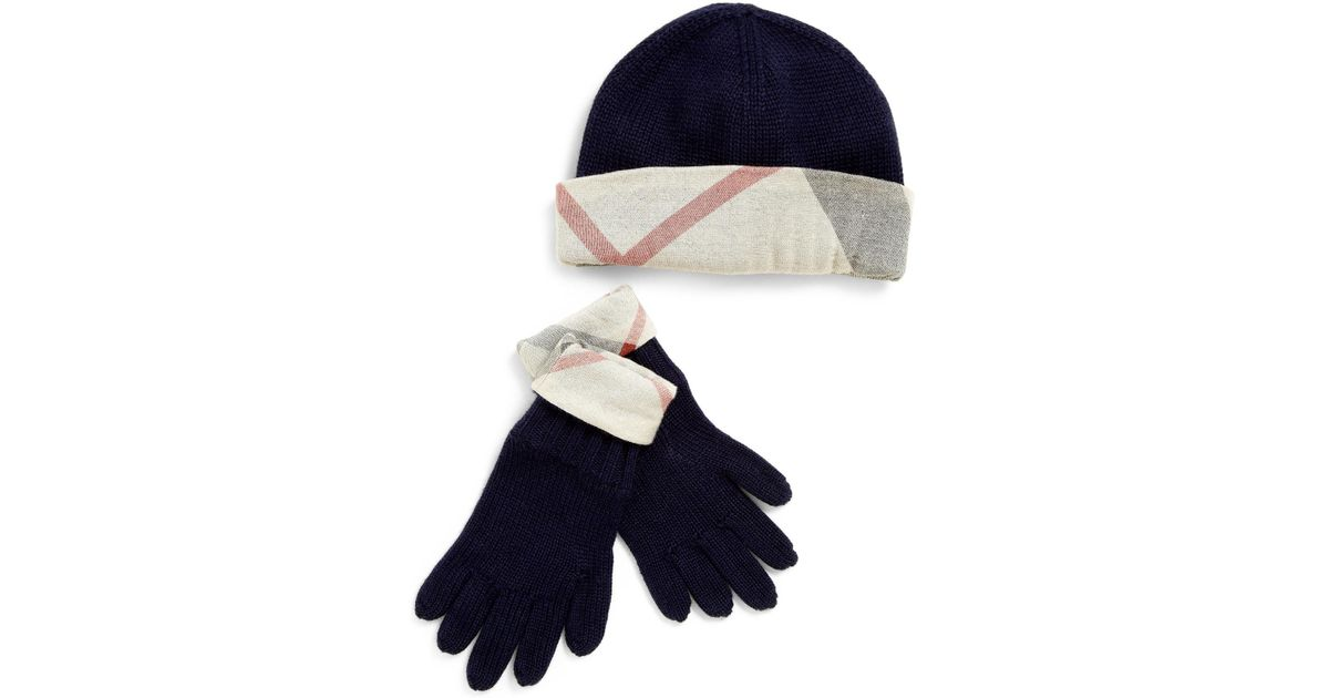 15a3cf4c Burberry Toddlers Kids Checktrimmed Hat Gloves Set in Black - Lyst
