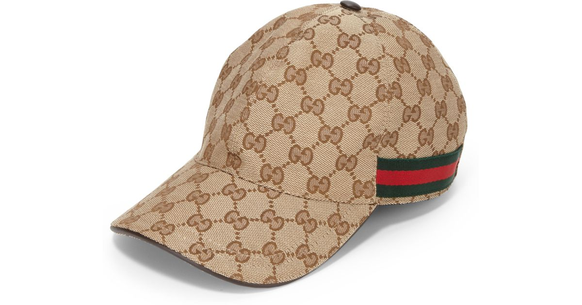 Lyst - Gucci Canvas Baseball Hat in Natural for Men 0fa9c634211