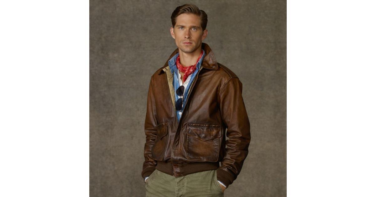 5a2ed07e53f9 Lyst - Polo Ralph Lauren Farrington Bomber Jacket in Brown for Men