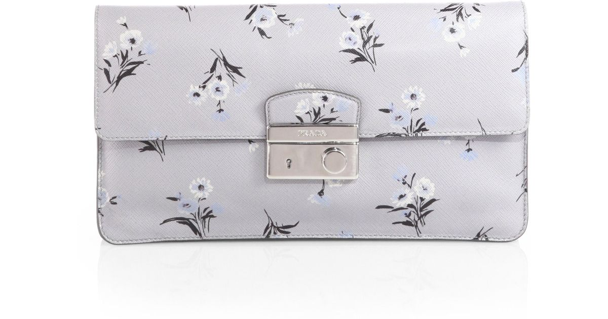 authentic prada handbags discount - Prada Saffiano Soft Sound Clutch in White (BOUQUET) | Lyst