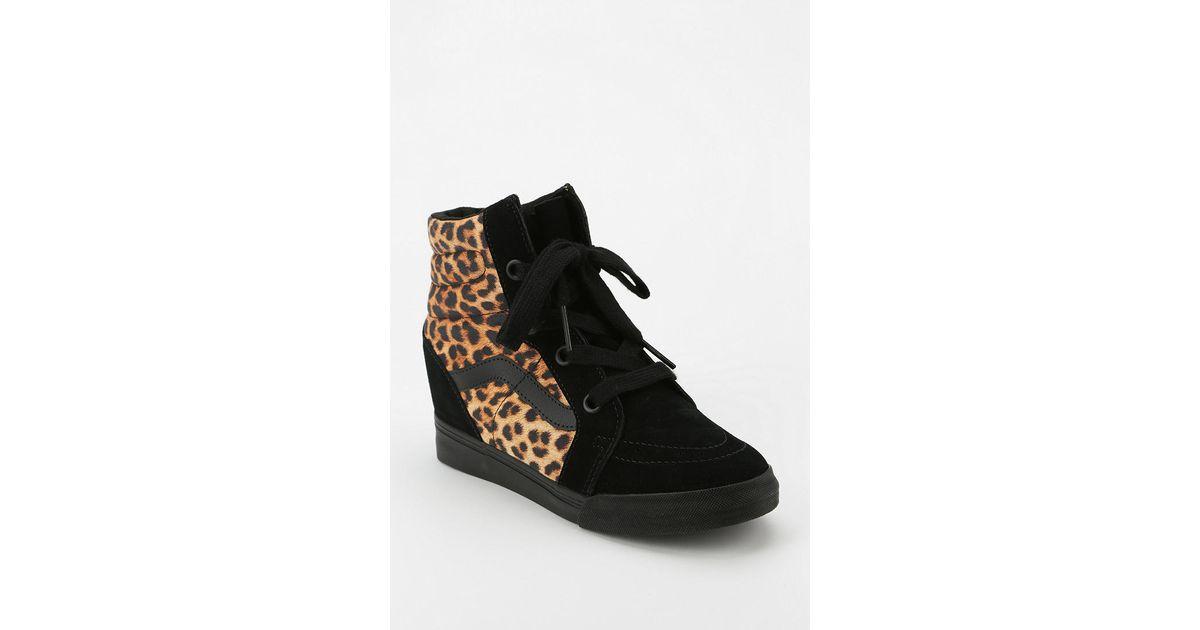 7bd3bb2967 Lyst - Urban Outfitters Vans Sk8 Animal Print Hidden Wedge Womens Hightop  Sneaker in Black