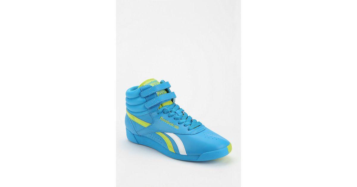 692deb7f47997 Lyst - Urban Outfitters Reebok Freestyle Split Hightop Sneaker in Blue for  Men