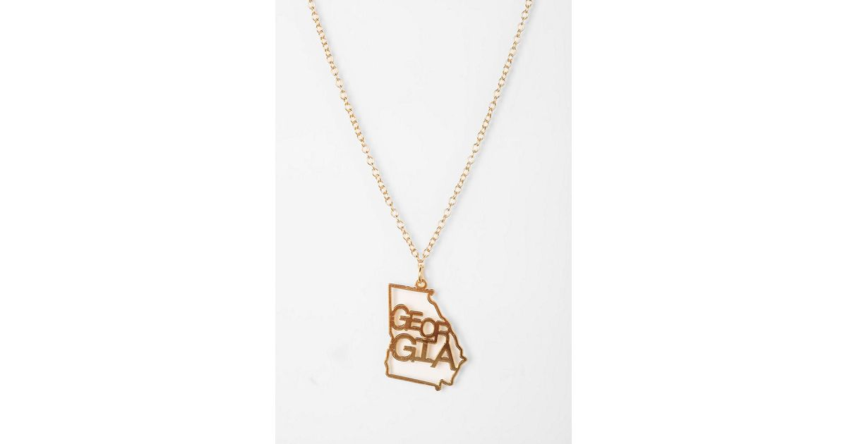 Urban outfitters kris nations state charm necklace in metallic lyst aloadofball Images