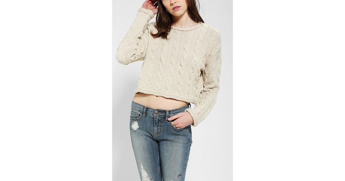 Lyst Urban Outfitters Cable Knit Cropped Sweater In Natural