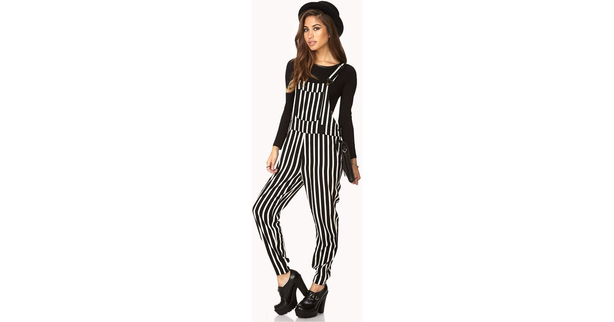 ee0fd3f2adc Forever 21 Rad Striped Overalls in Black - Lyst