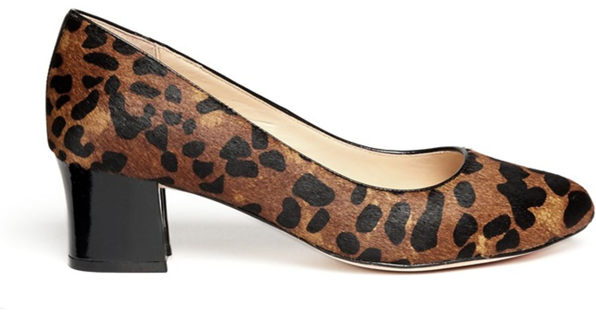 cf10b57889e9 Cole Haan Chelsea Leopard Print Block Heel Pumps - Lyst