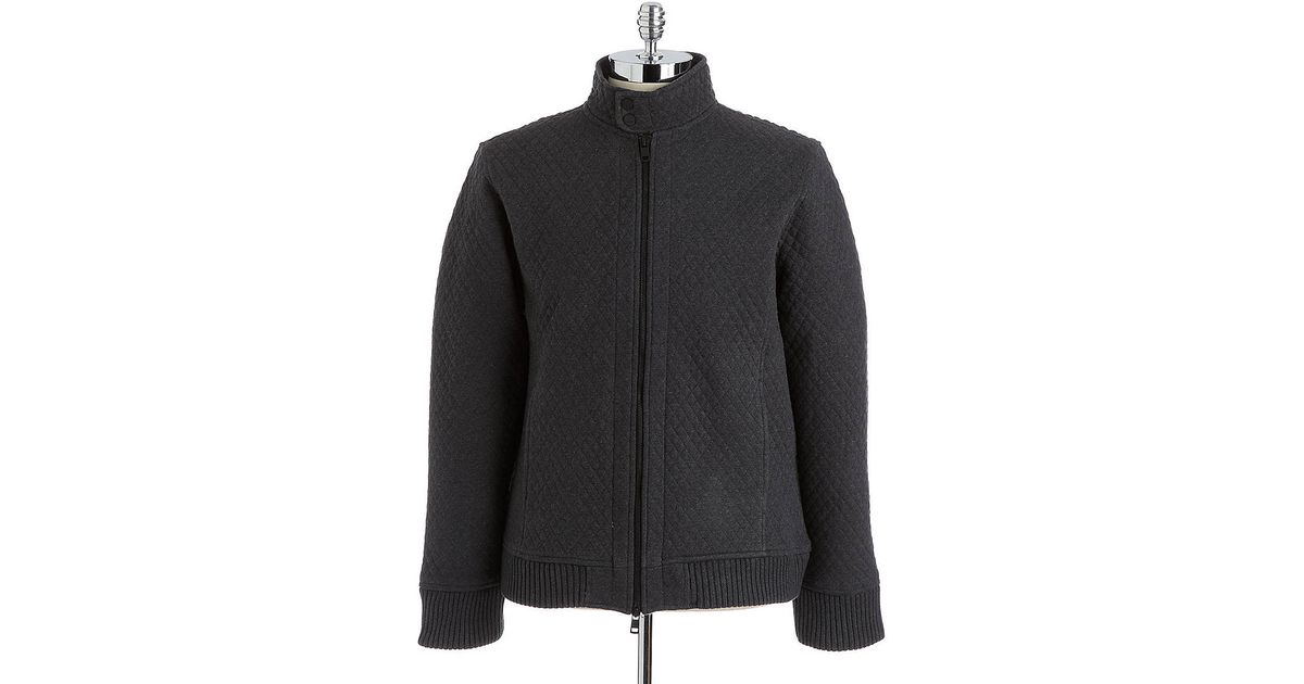 Dkny Quilted Cotton Bomber Jacket In Gray For Men Lyst