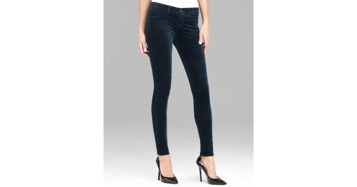 423b79e361746 Lyst - J Brand Jeans Luxe Velveteen 815 Mid Rise Super Skinny in Fraser in  Green