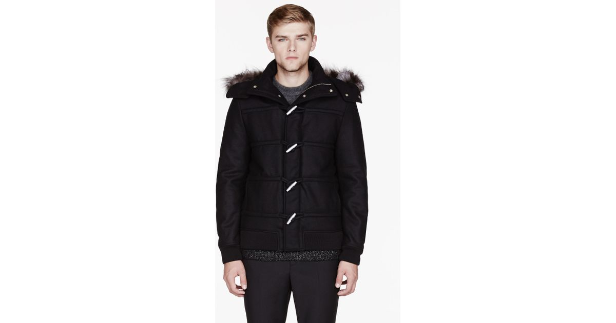 Kris van assche Black Wool and Fur Hooded Duffle Coat in Black for ...