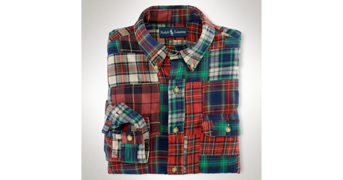 21d4f5174e9 Polo Ralph Lauren Custom Adler Patchwork Shirt in Red for Men - Lyst