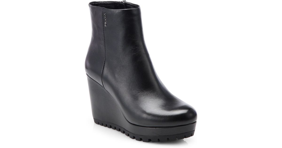 Lyst - Prada Leather Wedge Ankle Boots in Black e4533ef02bd9