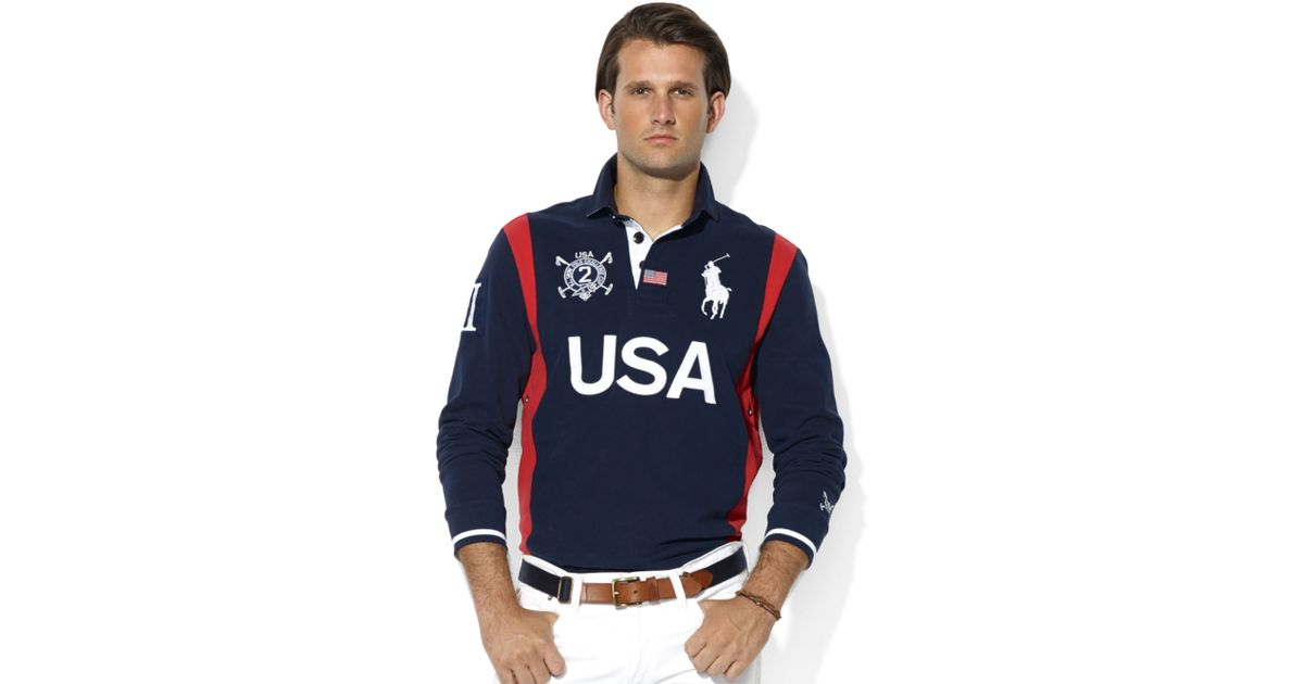 Ralph lauren Snow Polo Customfit Longsleeve Usa Rugby in Blue for Men | Lyst
