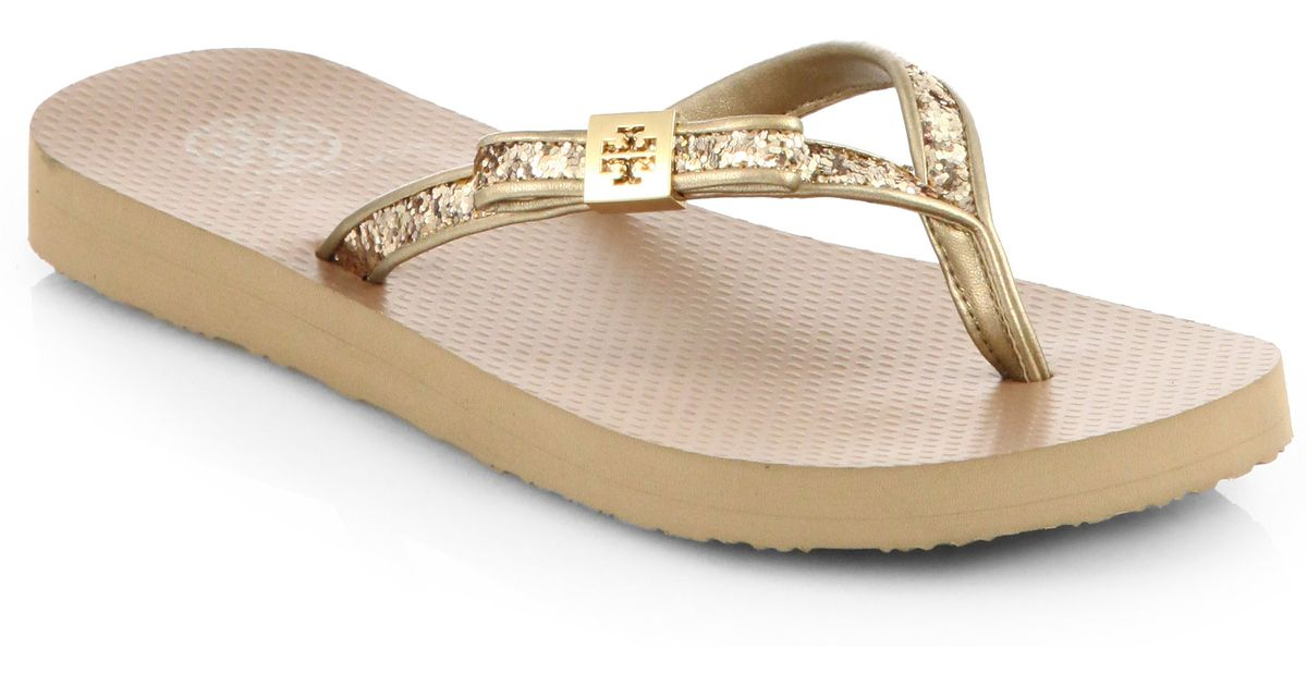 fa9763aba7dd89 Lyst - Tory Burch Carey Glitter Thong Flip Flops in Natural