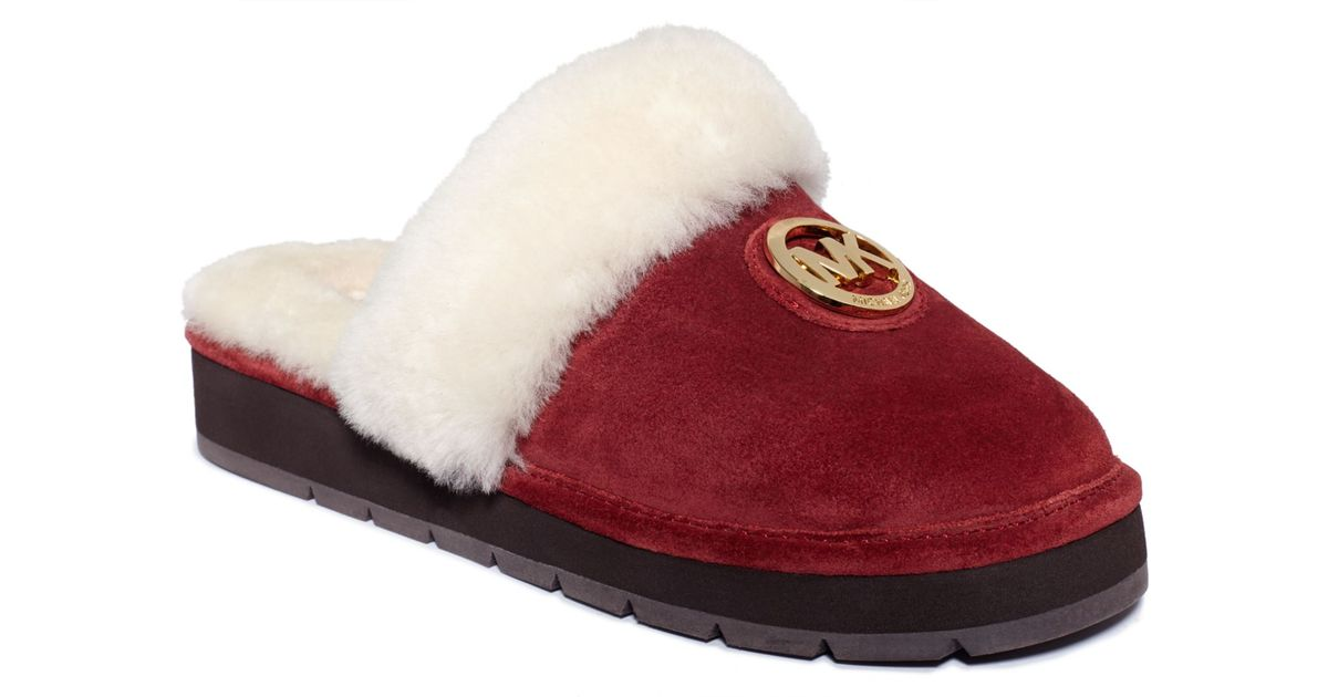 0a7ca41c9de1 Lyst - Michael Kors Winter Fur Slippers in Red