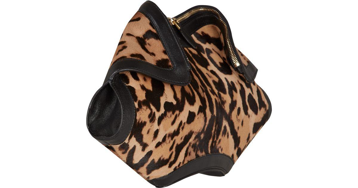 Lyst - Alexander McQueen Leopard Print De Manta Ponyskin Clutch Bag in Black eddf8a8f2e375