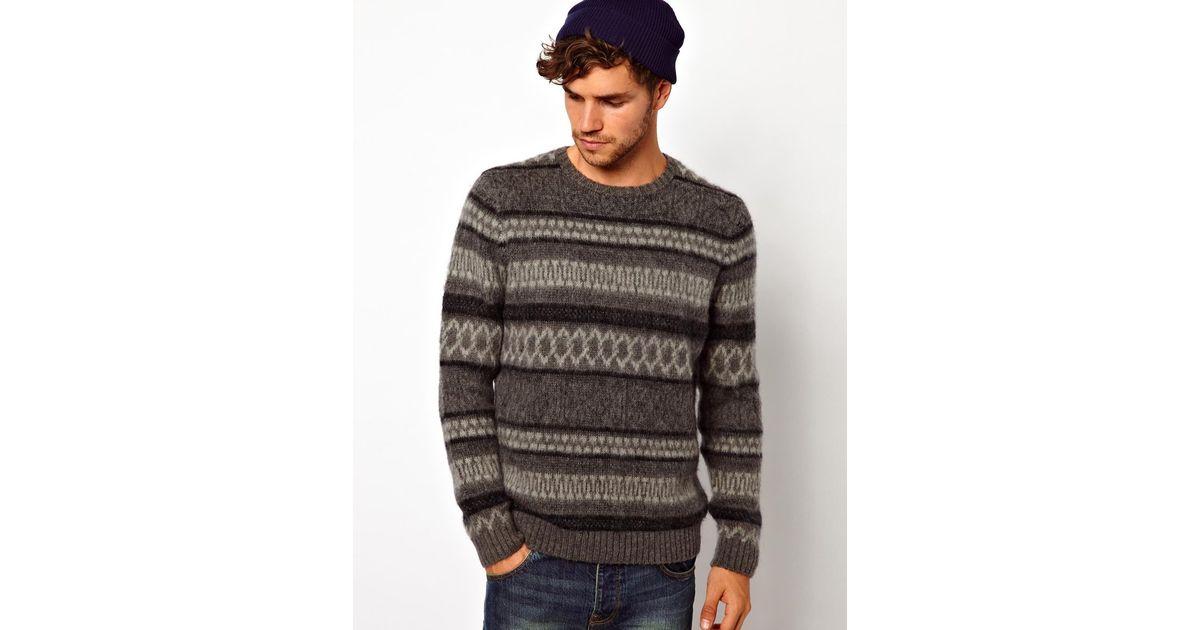 Asos Fairisle Sweater in Gray for Men | Lyst