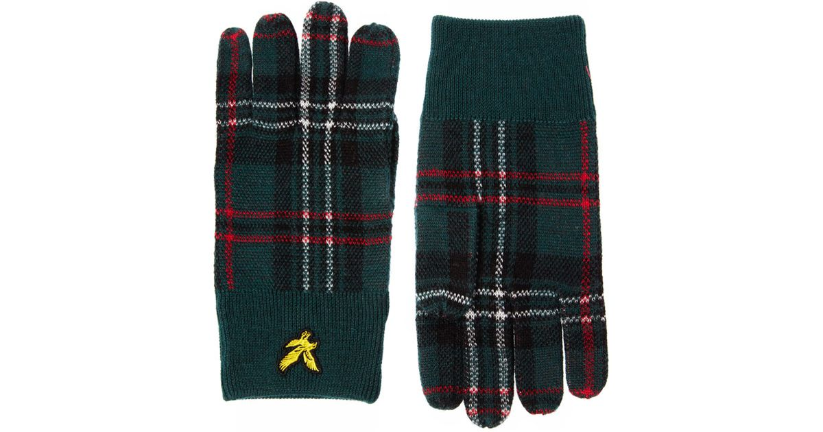 058a6cc5a ASOS Green Lyle Scott Plaid Gloves for men