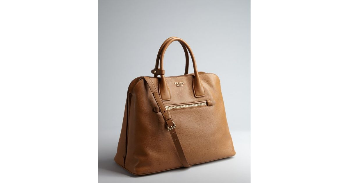 c9a5ae2f43c6 ... official lyst prada caramel saffiano leather zip top handle bag in  brown 4bdff 47828