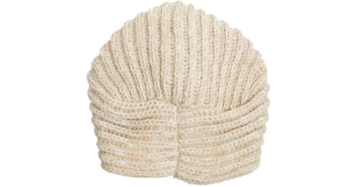 Knitting Patterns For Turban Hats : Asos Knitted Turban Hat in Natural Lyst