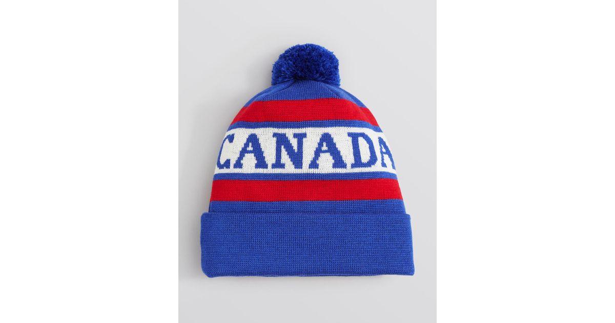 Lyst - Canada Goose Logo Pom Pom Hat in Blue for Men 94d524ee8548