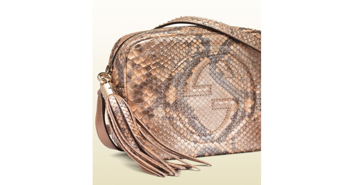 0e1b6eb99 Gucci Soho Metallic Python Disco Bag in Pink - Lyst