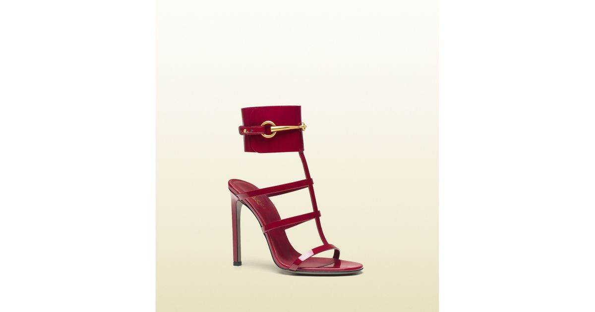 cb4428f4495 Lyst - Gucci Patent Leather Ankle-strap Sandal in Pink