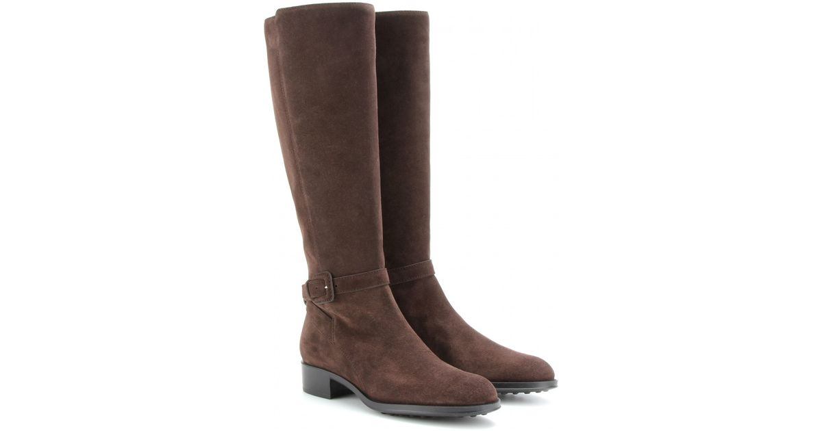 Tod's Suede Riding Boots in Brown | Lyst