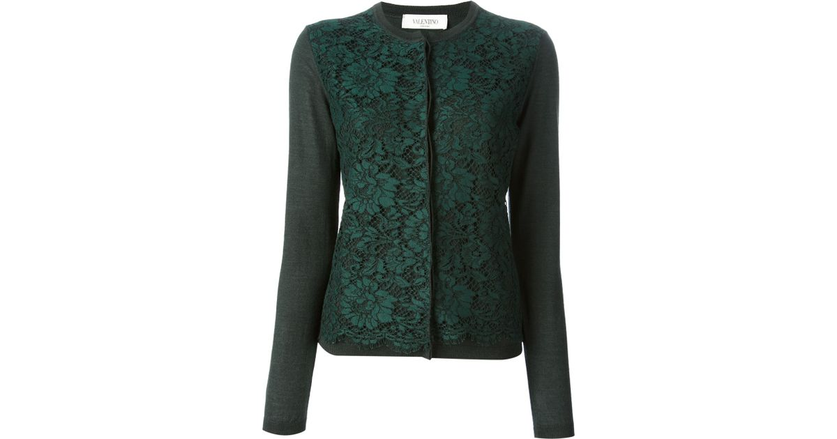Valentino Lace Cardigan in Green | Lyst