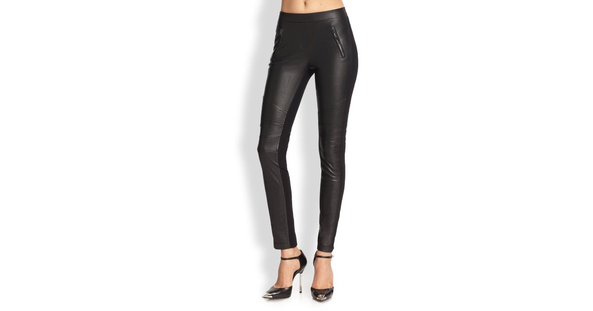 c460da1eeeb13d BCBGMAXAZRIA Faux Leather Combo Leggings in Black - Lyst