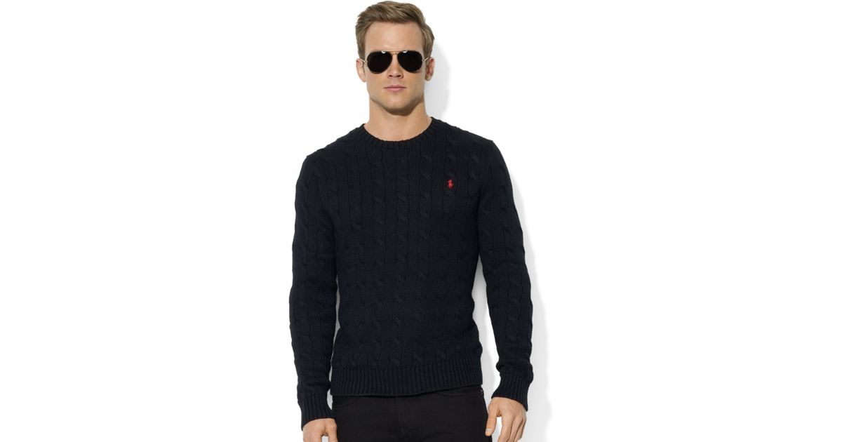 8020a8234 Ralph Lauren Roving Crew Neck Cable Cotton Sweater in Black for Men - Lyst