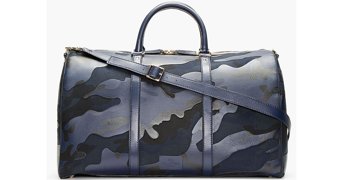Lyst - Valentino Navy Camo Print Leather Boston Duffle Bag in Blue for Men a9127fd399a32
